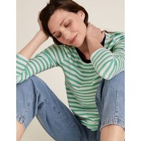 M&S Womens Pure Cotton Striped Straight Fit Top - 18 - Navy Mix, Navy Mix