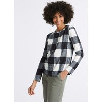 M&S Collection Checked Round Neck Long Sleeve Sweatshirt