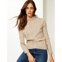 M&S Collection Textured Polo Neck Long Sleeve Top