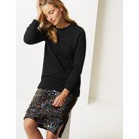 M&S Collection Cotton Rich Longline Long Sleeve Sweatshirt
