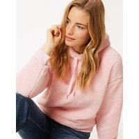 M&S Collection Borg Long Sleeve Hooded Sweatshirt
