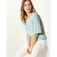 MandS Collection PETITE Linen Blend Lace Regular Fit T-Shirt