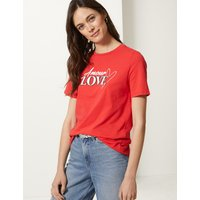MandS Collection Pure Cotton Printed Short Sleeve T-Shirt