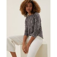 M&S Womens Pure Cotton Floral Long Sleeve Top - 6 - Charcoal, Charcoal