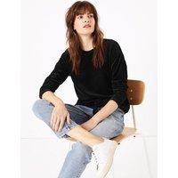 M&S Collection Cotton Rich Velour Textured Sweatshirt