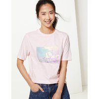 MandS Collection Pure Cotton Printed Straight Fit T-Shirt