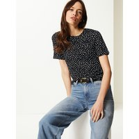 M&S Collection Polka Dot Round Neck Short Sleeve T-Shirt