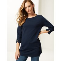 M&S Collection Cotton Rich Round Neck 3/4 Sleeve Tunic