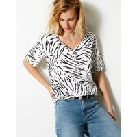 M&S Collection Animal Print V-Neck Short Sleeve T-Shirt