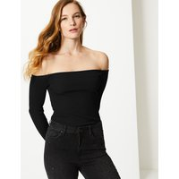 M&S Collection Textured Long Sleeve Bardot Top