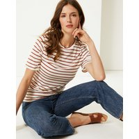 M&S Collection Striped Round Neck Mercerised T-Shirt