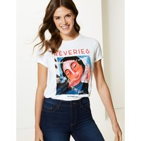 M&S Collection Pure Cotton French Portrait Straight T-Shirt