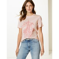 M&S Collection Pure Cotton Contrast Print Straight T-Shirt