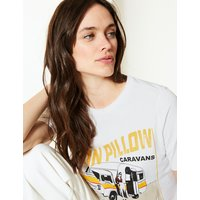 M&S Collection Pure Cotton Caravan Straight Fit T-Shirt