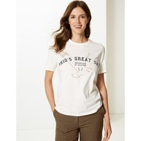 M&S Collection Pure Cotton Printed Short Sleeve T-Shirt