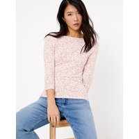 MandS Collection Cotton Rich Floral 3/4 Sleeve Fitted T-Shirt