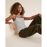 MandS Collection Cotton Striped Fitted Camisole Top