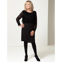 Twiggy for M&S Collection Textured Long Sleeve Shift Dress