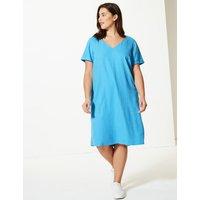 M&S Collection CURVE Linen Rich Shift Midi Dress