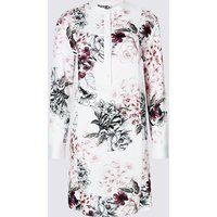 M&S Collection Floral Print Long Sleeve Tunic Dress