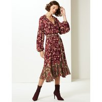 Limited Edition Floral Print Long Sleeve Tea Midi Dress