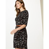 M&S Collection Polka Dot Jersey 3/4 Sleeve Shift Dress
