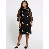 M&S Collection CURVE Embroidered 3/4 Sleeve Mesh Dress