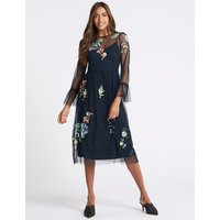 M&S Collection Embroidered Mesh Long Sleeve Midi Dress