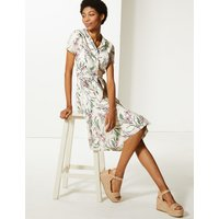 M&S Collection Pure Cotton Floral Print Shirt Midi Dress
