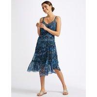 Per Una Floral Print Asymmetric Swing Midi Dress