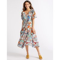 Per Una Floral Print Half Sleeve Tea Midi Dress