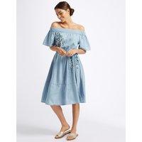 Per Una Cotton Rich Embroidered Bardot Midi Dress