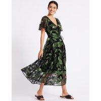 Per Una Embroidered Mesh Short Sleeve Midi Dress
