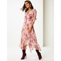 Per Una Floral Print Long Sleeve Tea Midi Dress