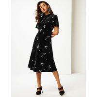 Per Una Embroidered Short Sleeve Tea Midi Dress