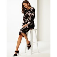 Per Una Floral Print Long Sleeve Bodycon Dress