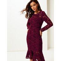 Per Una Lace Long Sleeve Bodycon Midi Dress
