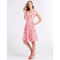 Classic Cotton Blend Floral Print Swing Midi Dress