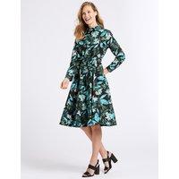 Classic Cotton Blend Floral Print Shirt Dress