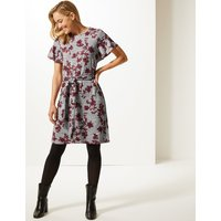 M&S Collection Floral Print Round Neck Tunic Dress