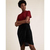 MandS Collection Velvet Polka Dot Knee Length Wrap Skirt