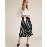 MandS Collection Jersey Polka Dot Ruffle Midi Wrap Skirt