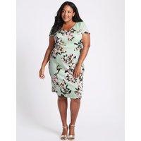 M&S Collection CURVE Floral Print Bodycon Midi Dress