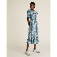 M&S Womens Floral Round Neck Midi Waisted Dress - 8LNG - Multi, Multi