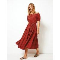 Per Una Pure Cotton Dobby Waisted Midi Dress