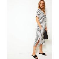 Per Una Cotton Blend Striped Shift Midi Dress