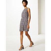 MandS Collection Linen Rich Printed Shift Dress