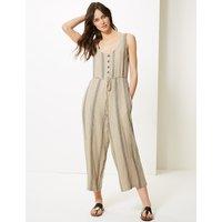 M&S Collection Linen Rich Striped Round Neck Jumpsuit