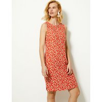 MandS Collection Linen Rich Leaf Print Shift Dress