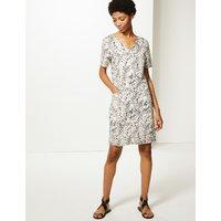 MandS Collection Linen Rich Animal Print Shift Dress